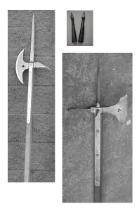 Selction of possible weapons used in Eyre Square encounter - Poleaxes and arrowheads