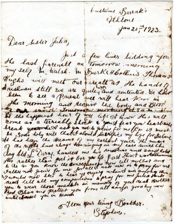 Stephen Joyce execution letter